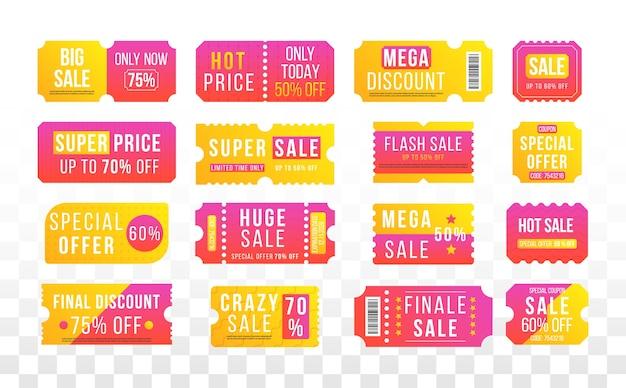 Angebot zum halben preis, großer rabatt für super-verkaufsgutscheine. tickets, etiketten.
