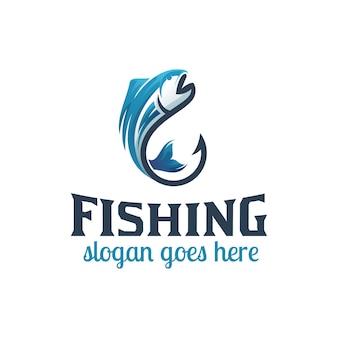 Angelhaken für fischer- oder angellogo-design, geschäftshaken-shop-logo