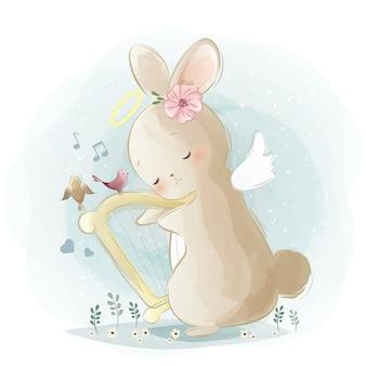 Angelic bunny spielt eine harfe