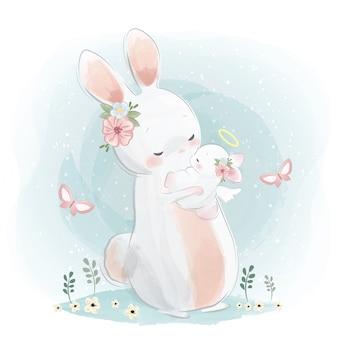 Angelic mami und baby bunny