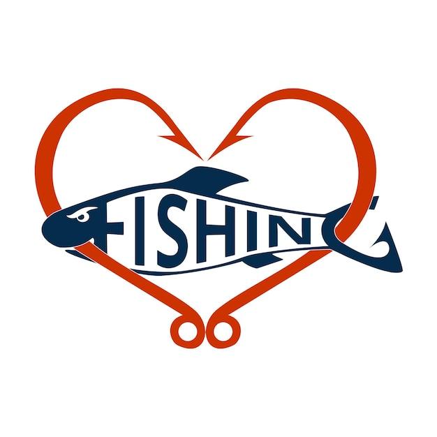 Angeln-logo, emblem auf weißem hintergrund. angelhaken in herzform. schriftzug angeln in form eines fisches. gestaltungselement. vektor-illustration.