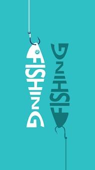 Angeln-logo, emblem. fisch am haken. schriftzug angeln in form eines fisches. gestaltungselement für fischerverein oder turnier. vektor-illustration.