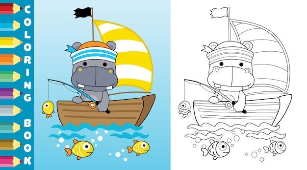 Angeln mit niedlichem nilpferd auf segelboot