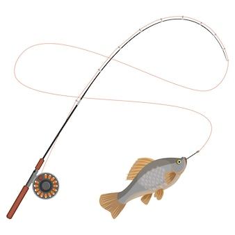 Angelrute mit gefangenem gliedmaßen kaltblütigem tier, das am haken gefangen ist. hobbyfischereisportikone isoliert. fangen von fischen auf spinning tackle icon