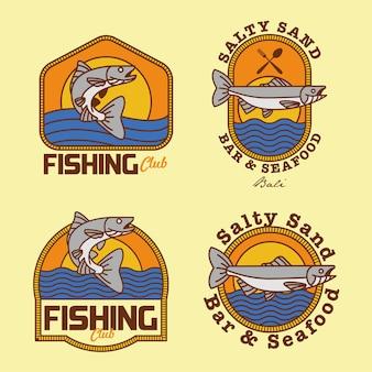 Angelverein und meeresfrüchte badges logo