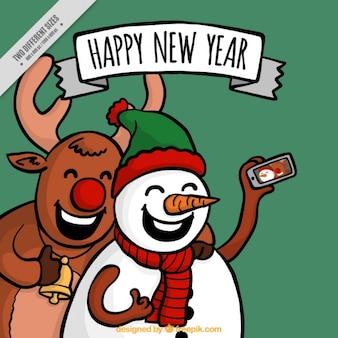 Angenehmer weihnachten hintergrund von freunden eine selfie einnahme