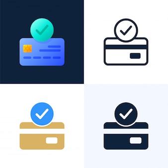 Angenommene zahlung kreditkartenvektorvorrat-ikonensatz.