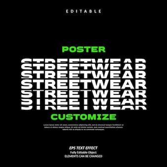 Angepasstes poster streetwear gestapelter texteffekt bearbeitbare premium-vektoren