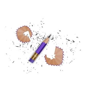 Angespitzter bleistift mit einem gummi, bleistiftschnitzeln und einem isolierten graphit