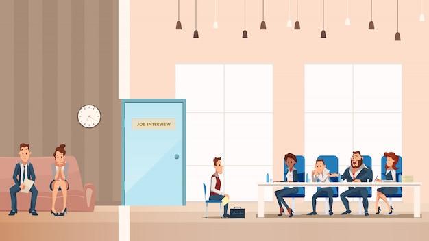 Angestellter auf sofa. job interview prozess im büro