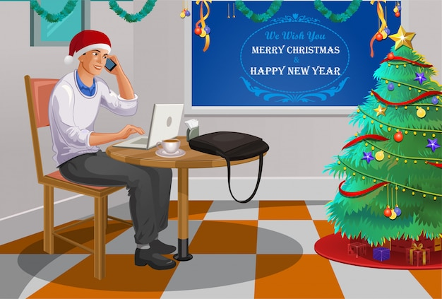 Angestellter, der weihnachten im büro feiert