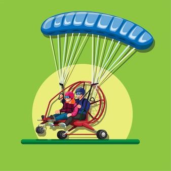 Angetriebenes gleitschirmfliegen. pilot und passagier in fallschirm-tandem-gleitschirmillustration