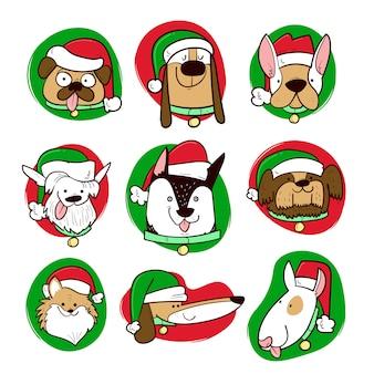Angezogene hunde in der weihnachtszeit