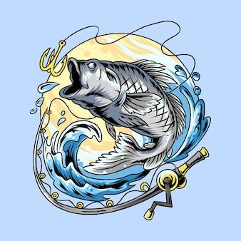 Angler, die nach großartigem lachs und großartigem wolfsbarsch fischen