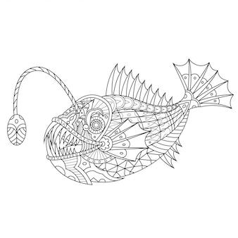Angler fisch mandala zentangle linear style