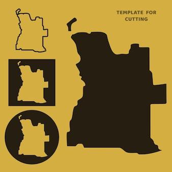 Angola-karte vorlage zum laserschneiden, holzschnitzen, scherenschnitt. silhouetten zum schneiden. angola-kartenvektorschablone.