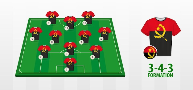 Angola national football team bildung auf dem fußballplatz.