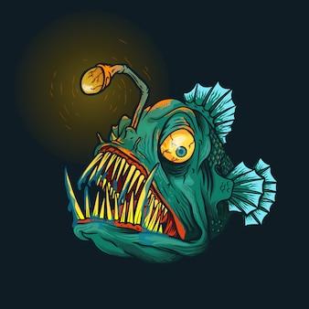 Angry angler fish illustration