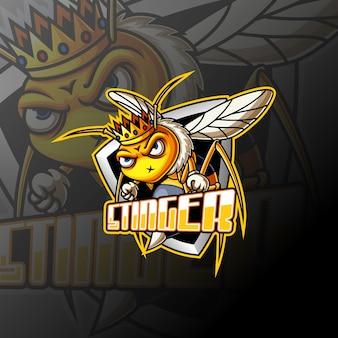 Angry bee und sport maskottchen logo design