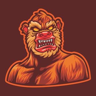 Angry big foot esport logo illustration