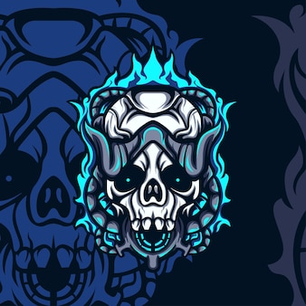 Angry blue fire skull maskottchen für spiele oder andere