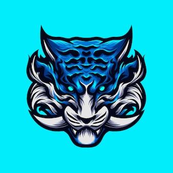 Angry blue tiger head mit einem fang. handgezeichnete illustration.