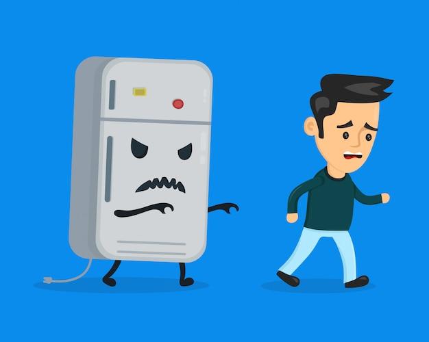 Angry böser kühlschrank läuft nach einem erschrockenen mann. flache karikaturcharakter-illustrationsentwurf. auf blauem hintergrund isoliert. ernährungsdiätkonzept