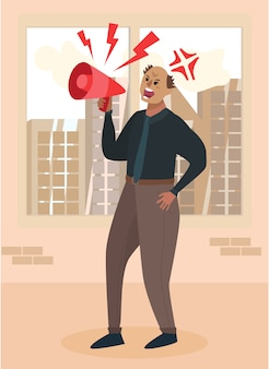 Angry boss chief schreit auf megaphone cartoon