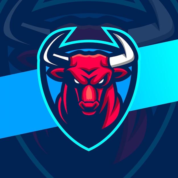 Angry bull maskottchen esport logo design