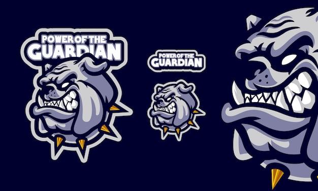 Angry bulldog head mit halskette maskottchen logo
