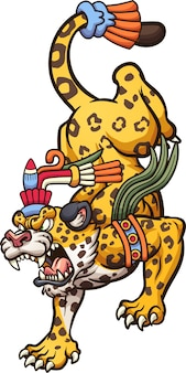 Angry cartoon jaguar geht nach unten. clipart-illustration.