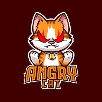 Angry cat mascot logo für sport und sport