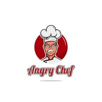 Angry chef logo design vorlage