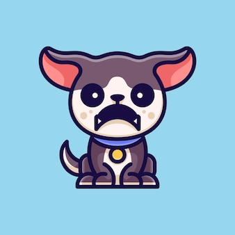 Angry dog adventure für charaktericon logo-aufkleber und illustration