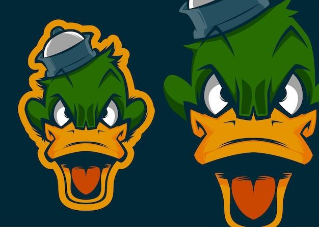 Angry duck head premium vektor maskottchen illustration