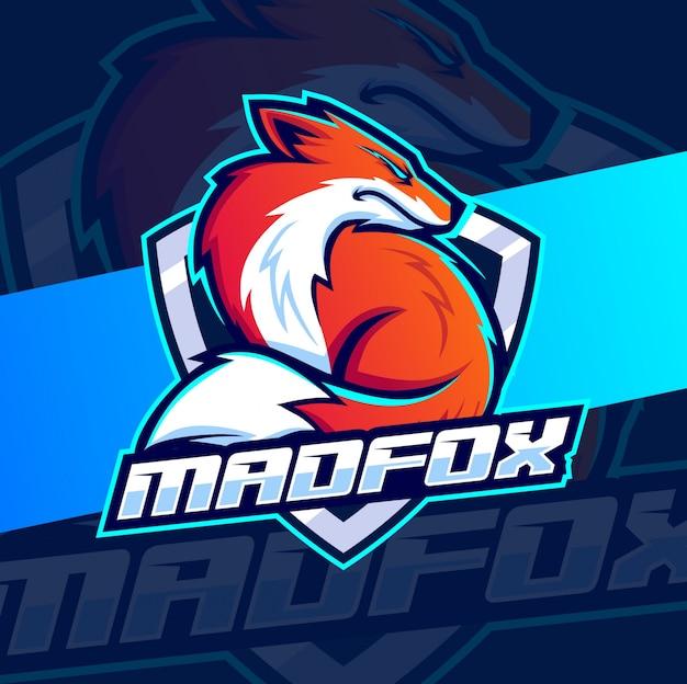 Angry fox maskottchen esport logo