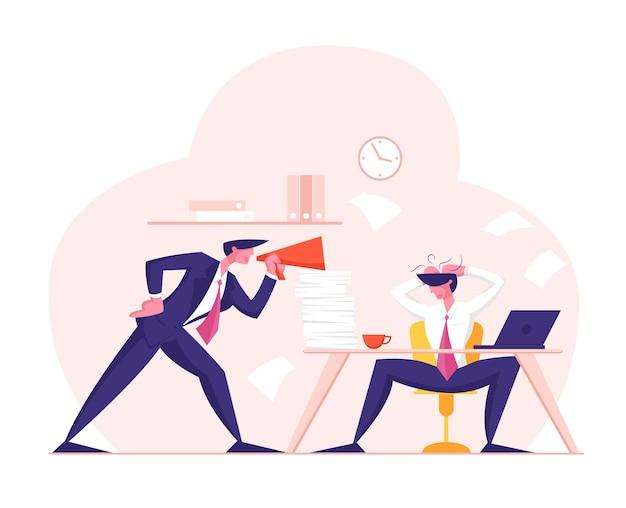Angry furious boss character, der megaphone bei employee office worker anschreit