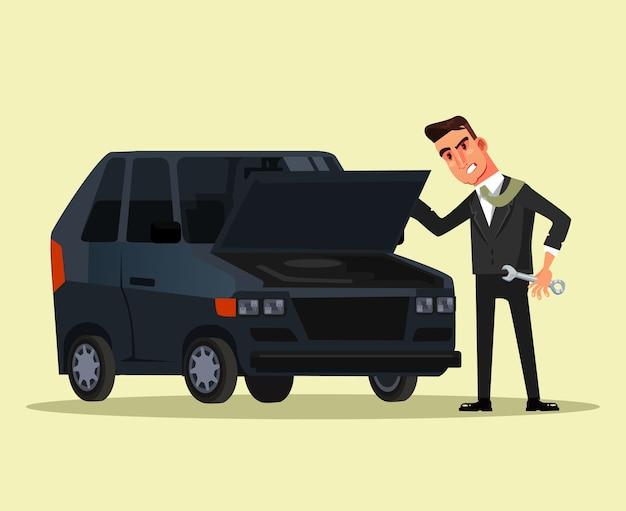 Angry geschäftsmann büroangestellter charakter, der versucht, gebrochenes auto, flache grafikdesignkarikatur isolierte illustration zu reparieren