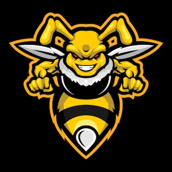 Angry hornet esport logo illustration