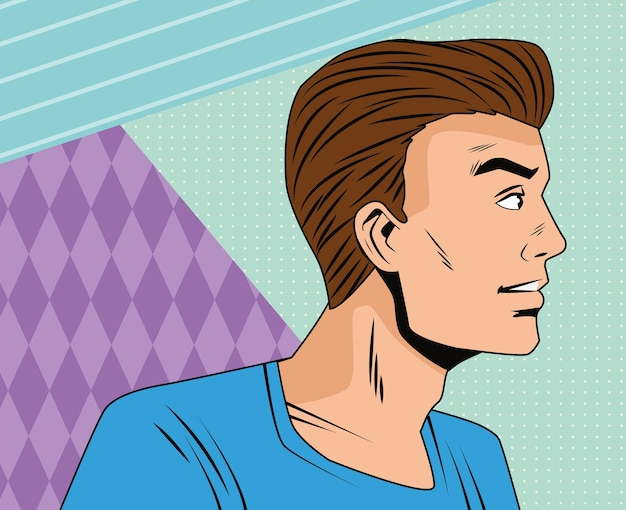 Angry man profil pop art stil charakter