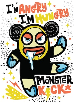 Angry monster sehen aus wie bär hungrig sein