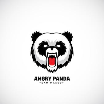 Angry pandateam maskottchen, etikett oder logo-vorlage. bärengesichtssymbol ohne hintergrund.