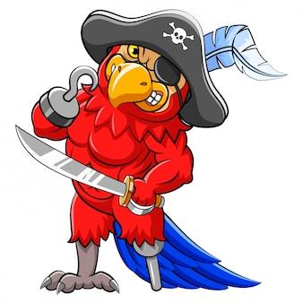 Angry papagei piraten cartoon hält schwert der illustration