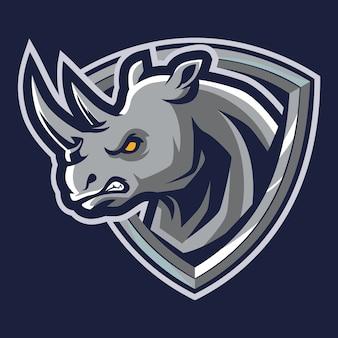 Angry rhino esport logo illustration