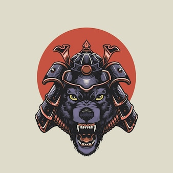 Angry samurai wolf illustration