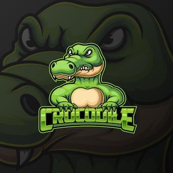 Angry starkes krokodilmaskottchen und sportlogodesign
