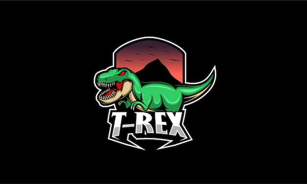 Angry t rex maskottchen logo illustration