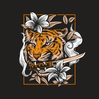 Angry tiger head illustration mit katana schwert