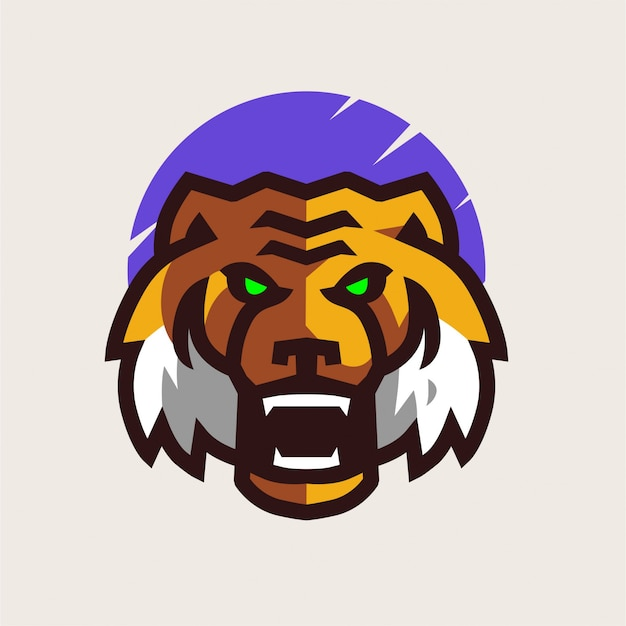 Angry tiger maskottchen logo