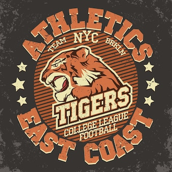 Angry tiger sport t-shirt grafiken, vintage denim apparel typografie, artwork stempeldruck, wilder großer katzenkopf.